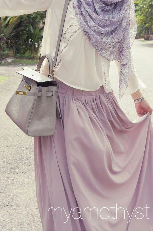 Hijabl. lavender. purple. maxi skirt. hijabi fashion