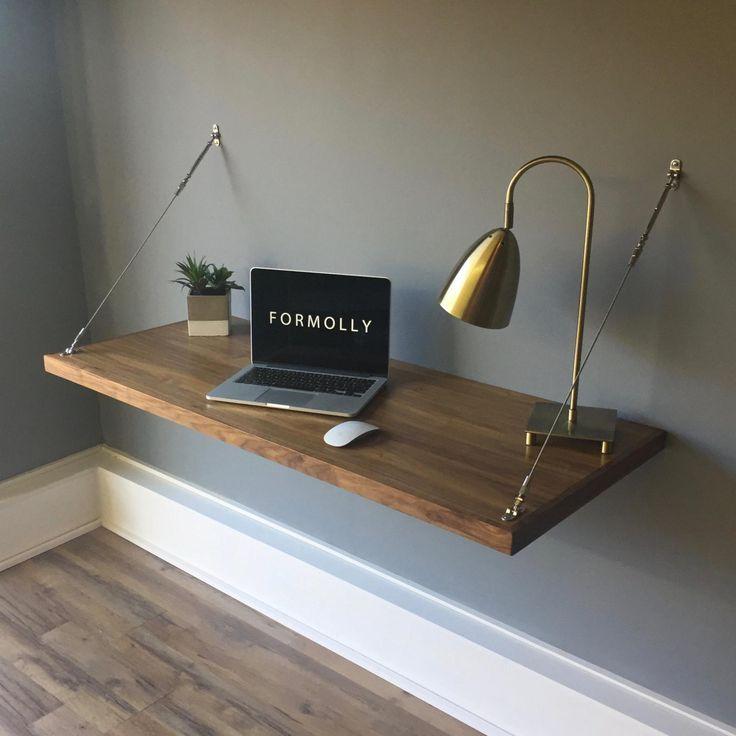 An der Wand befestigter sich hin- und herbewegender Schreibtisch – Walnuss – #desk #floating #mounted #Wall #walnut