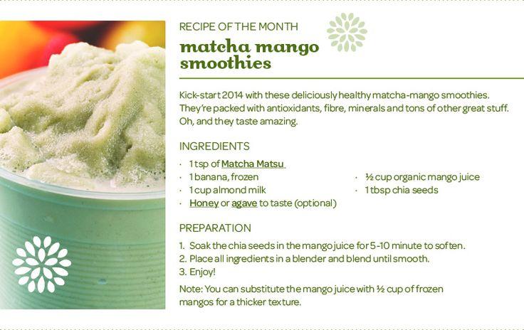 matcha mango smoothie - Matcha Matsu tea with frozen banana, mango juice, chia seeds, almond milk and honey   DavidsTea - Tea Recipes