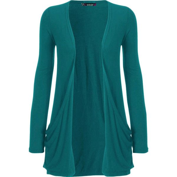 Destiny Long Sleeve Open Cardigan (£9) ❤ liked on Polyvore featuring tops, cardigans, sweaters, jackets, outerwear, teal, plus size long sleeve tops, blue top, long sleeve open front cardigan and boyfriend cardigan