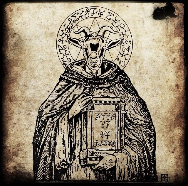 #blackandwhite #satan #satanic #illustration #cursed #666 #baphomet #occult #evil #ancient #goat #art