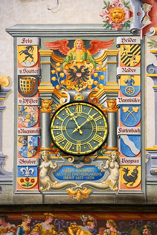 Town Hall clock and artwork, Lindau Island, Lake Constance, Germany.  Photo by Jim Zuckerman.
