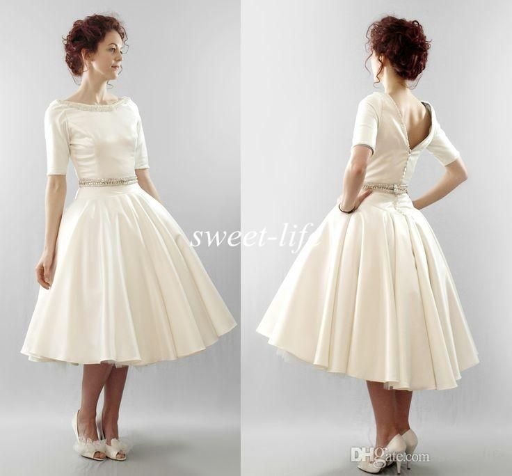 Knee Length Wedding Dresses 2016 with Short Sleeves A-Line Satin Beading Bateau Open Back Plus Size Simple Modest Wedding Party Bridal Gowns Online with $103.67/Piece on Sweet-life's Store | DHgate.com