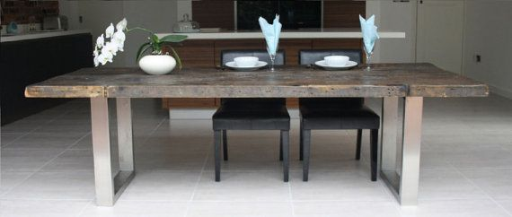 Reclaimed Wood Dining Table with Brushed Steel Legs (available in all sizes)