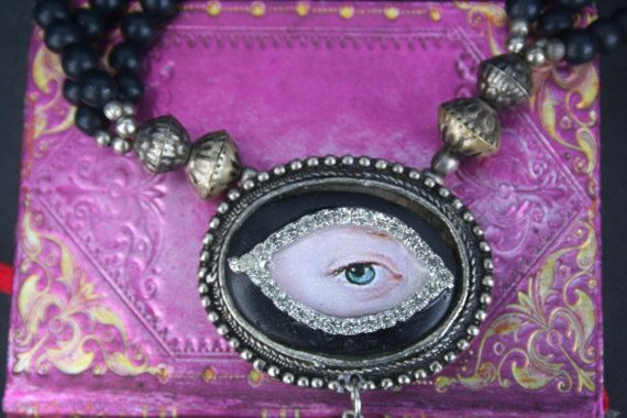 Georgian inspired Lovers eye pendant mourning pendant eye