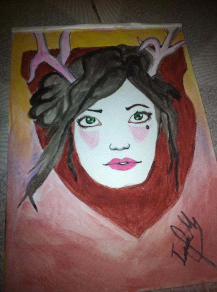 girl with horns draw art color