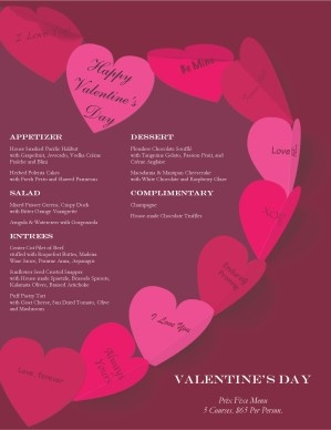 Customize Paper Hearts Valentine S Day Menu Work Pinterest