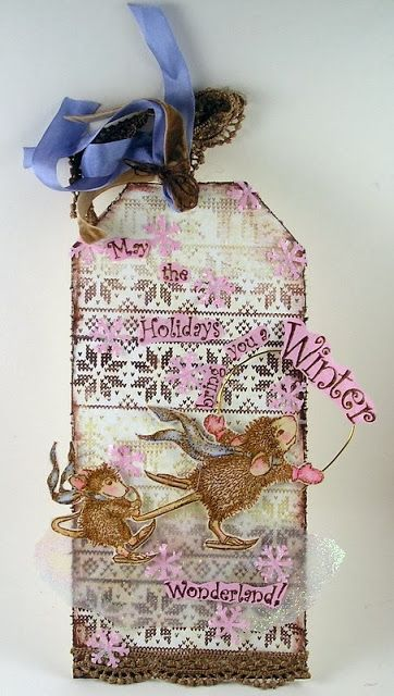 Suzz's Stamping Spot, #Stampendous, #Clearsnap, House-Mouse Designs, Christmas Tag