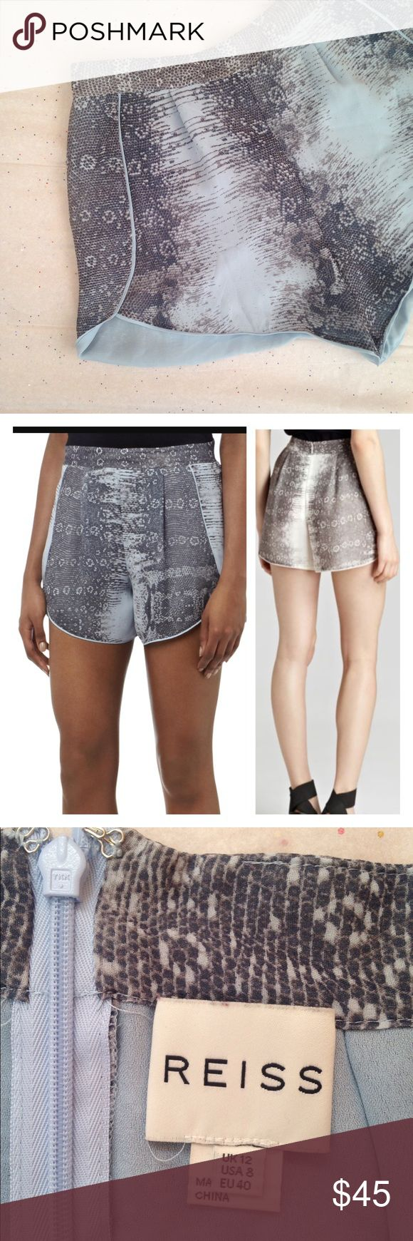 """{JUST IN} silk snake print shorts Reiss Morgan silk snake print high waisted shorts with curved dolphin hem. Gray/sky blue. Pre-loved, excellent condition - no defects.  size 8/UK 12 - lying flat across, waist 16"""", length 11"""", inseam 3.5"""", rise 12"""" (high waist).   ✅offers - 50% + will be politely declined.       ✅questions if unsure.  ❌NO trades - please do not ask.  ❌NO modeling.   Thanks for stopping by 💕 Reiss Shorts"""