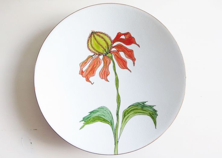 De Passille-Sylvestre enamel on copper plate. Laurentian flowers serie made for the Canadian Centennial and Expo 67.