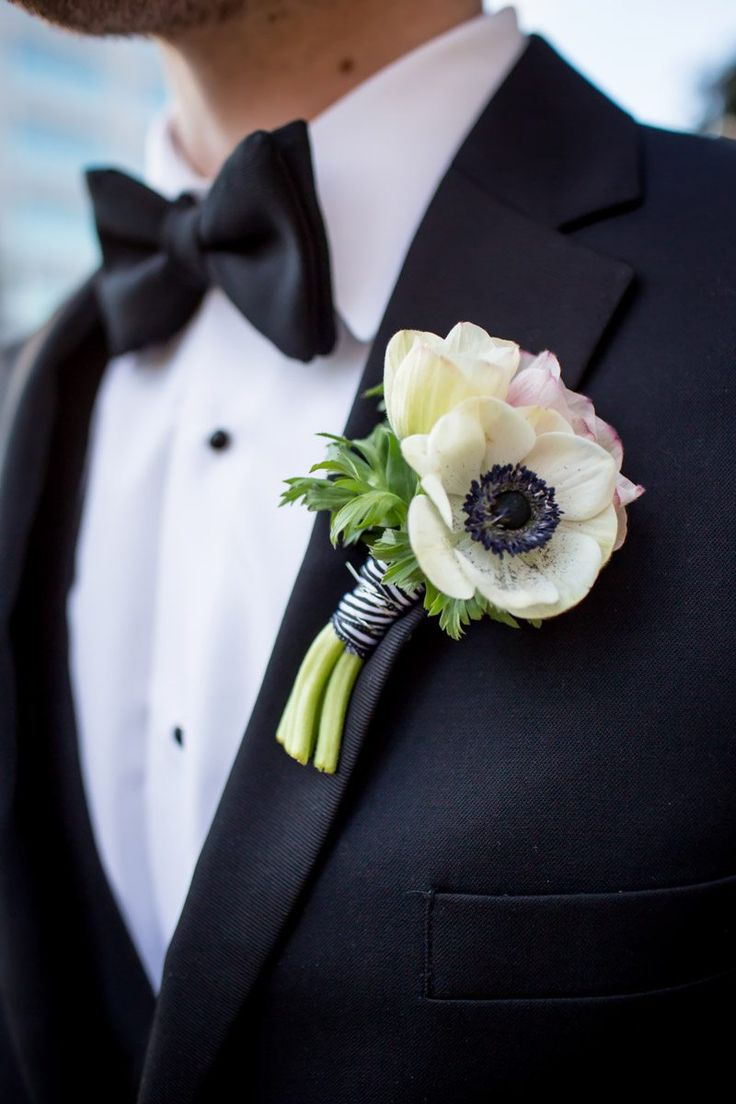 Tulip & Anemone Boutonniere for the Groom.   Lush Indoor Garden Wedding at the High Museum of Art in Atlanta, GA - The Celebration Society