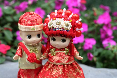 Sonny Angel dolls in Handmade Chinese wedding gowns