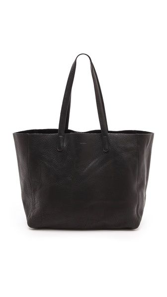Oversized black leather tote by BAGGU