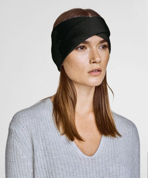 Cashmere Crossover Headband - Black $140.00 - 100% Cashmere Hand wash cold, do not twist or wring, only non-chlorine bleach when needed, dry flat, cool iron if necessary or dry clean. #gifts