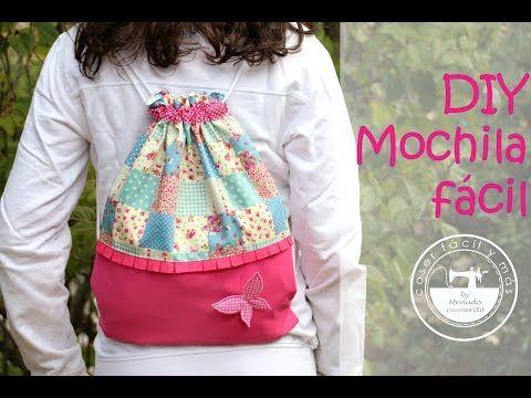 Medidas y materiales en: https://goo.gl/A5Zqch Jamás te han contado cómo coser una mochila de esta forma tan sencilla. Ideal para la vuelta al cole, para ir ...