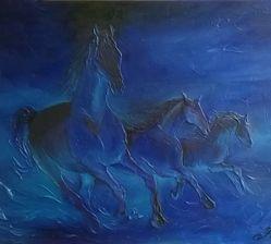 "Painting ""Blue horses"", oil on canvas, 70x50 cm.   Картина ""Синие лошади"", холст \ масло \ 70х50 см. Авторская."