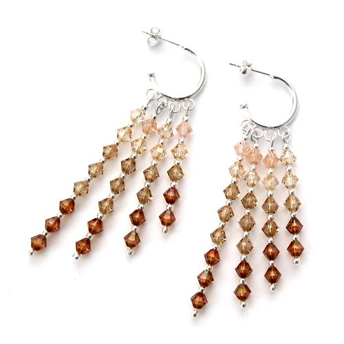Swarovski crystals in several shades of whisky. Silver, orient-inspired earrings.