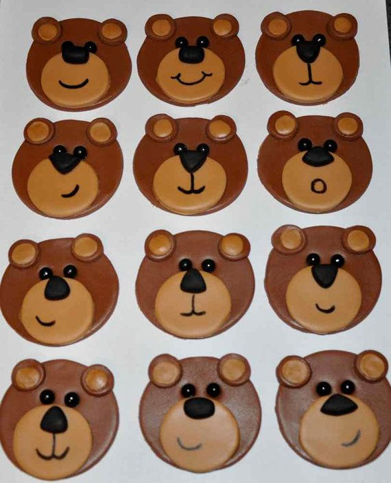 These adorable fondant toppers can be used on cookies or cupcakes to make your Teddy Bear Picnic party table extra special! Bears Fondant Toppers for Cupcakes Cake and by LadyCupcakesCorner, $15.95
