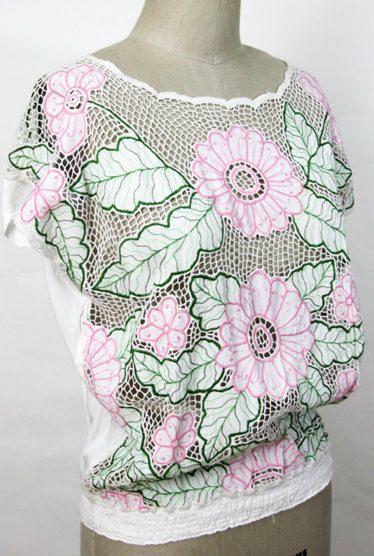 pink flowers on white [Bali cutwork shirt]