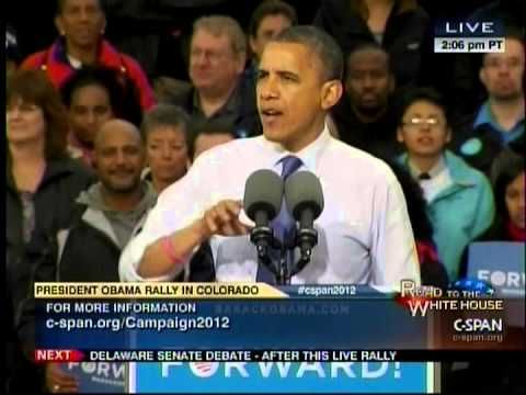 "Obama says at a campaign event in Denver, CO that he wants more wind turbines mader ""Here in China"" (October 24, 2012)."