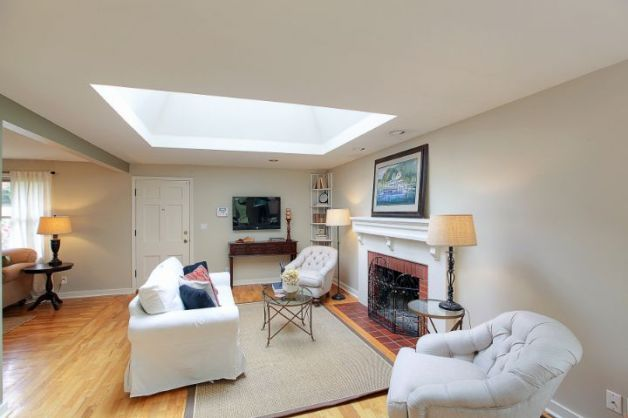 Large skylight over living room