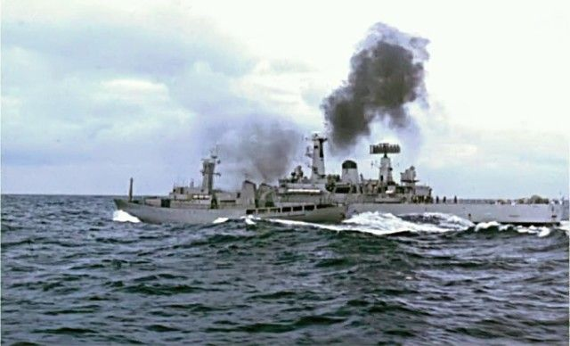 "Icelandic patrol ship ICGV Óðinn and British frigate HMS Scylla clash in the North Atlantic, in the 1970s, during the ""Cod Wars""."