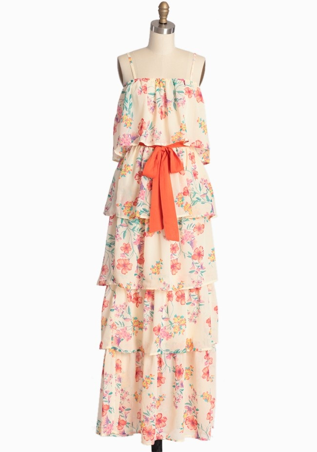 Weird, but cute at the same time   Hawaiian Delight Tiered Maxi Dress