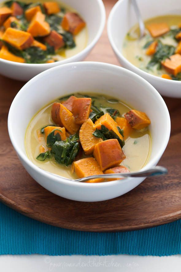 Sweet Potato and Spinach Soup Thai Spices, Hearti Soups, Vegans Soups ...