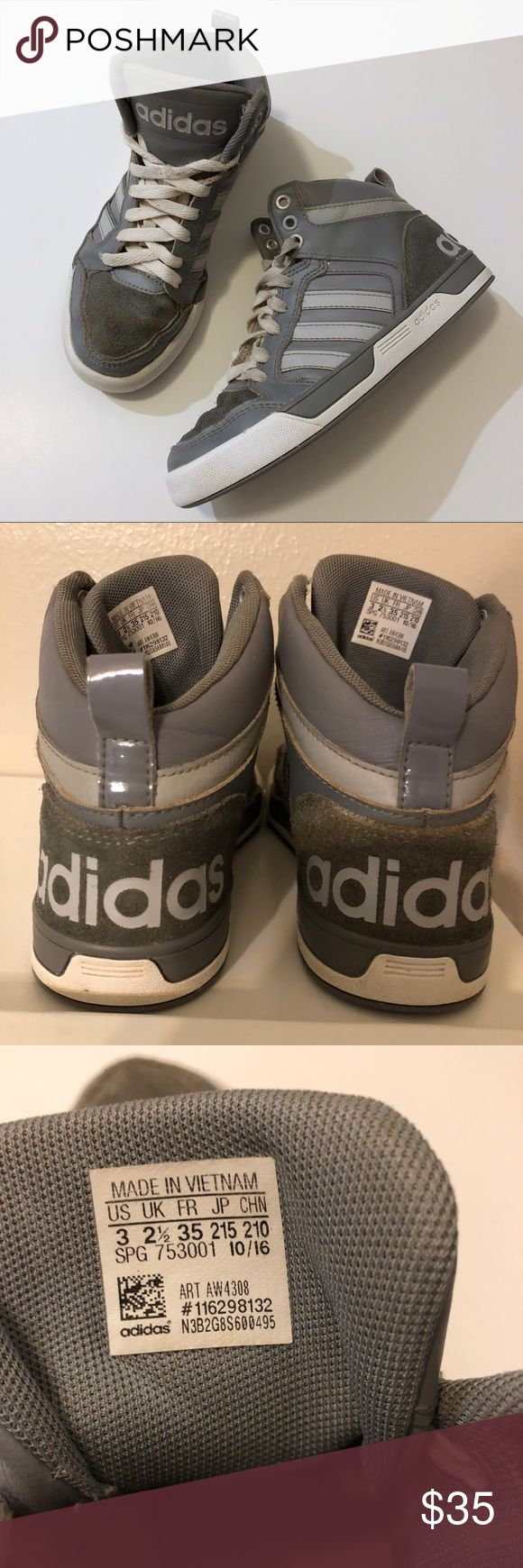Adidas Neo Gray High Top Sneakers, Boys Size 3 Adidas Neo Raleigh Mid Top Little Boys sneakers. Gray shoes with white soles.  Synthetic upper, lace up front, rubber outsole.  Good condition. Normal wear and tear but structurally intact with no major damage! These have been lightly cleaned, but could use a thorough cleaning! :)  Ships same or next day from smoke free home. adidas Shoes Sneakers