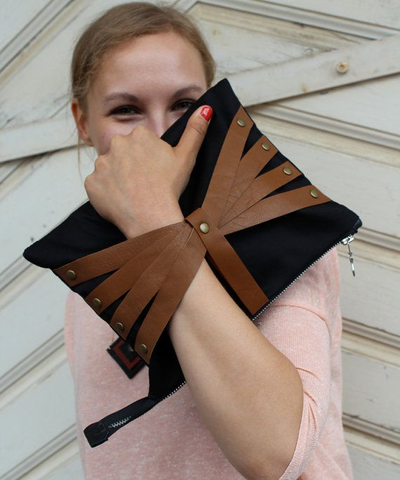 Leather Web Detail Bag in Black Fabric & Mustard Brown Leather, iPad Size, handmade clutch bag
