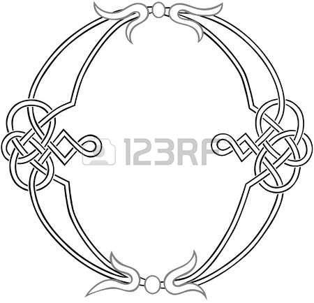 A Celtic Knot-work Capital Letter O Stylized Outline Illustration