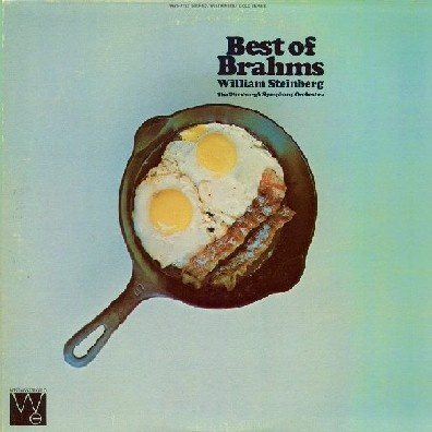 Brahms = Bacon & Eggs. Naturally. One of the many wonderfully cryptic album covers Christopher Whorf did for the Westminster Gold label.