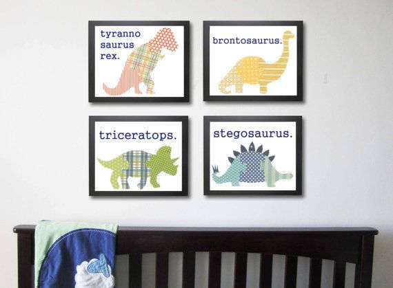 For the boys...Dinosaur Nursery Art Prints Children's Art  Set of 4 by justbunch, $52.00