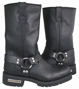 <b>Xelement 1443 Men's Black Harness Motorcycle Biker Boots with Lug Sole</b><br><br>Top quality full grain leather is used to make the most technologically advanced Motorcycle Biker boot ever. Good Year Welt Construction boots (needed for long-term durability, resole-able, better comfort when wore in). Great classic look of 13 inch harness biker boot. This is the most technologically advanced mens biker boot built for long-term durability, comfort, and protec...