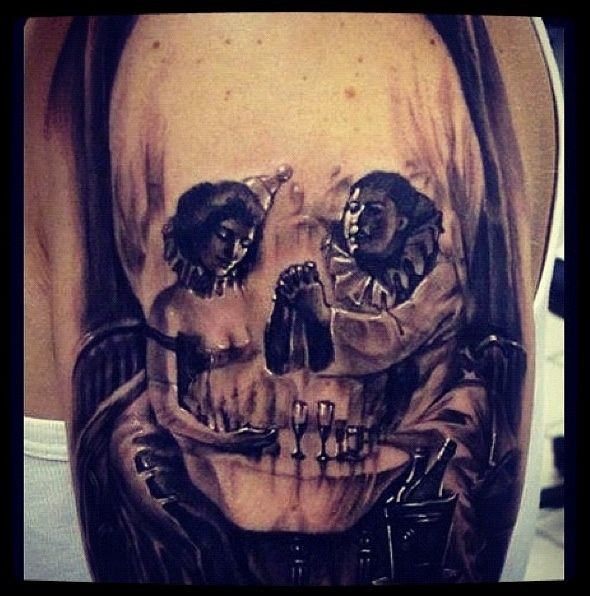 33 best creepy jester tattoos images on pinterest clown for Clown tattoos for men