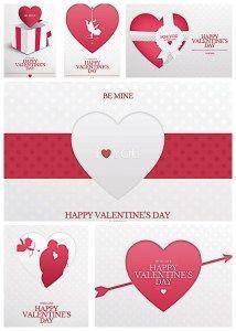 LOVELY VALENTINE'S DAY PINK CARD BUNDLE - http://freepicvector.com/lovely-valentines-day-pink-card-bundle/