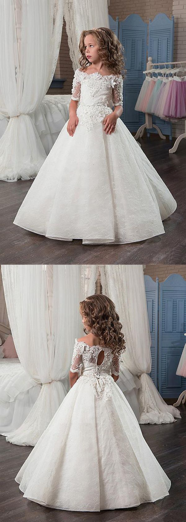 Attractive Lace & Satin Off-the-shoulder Neckline A-Line Flower Girl Dresses With Beaded 3D Flowers