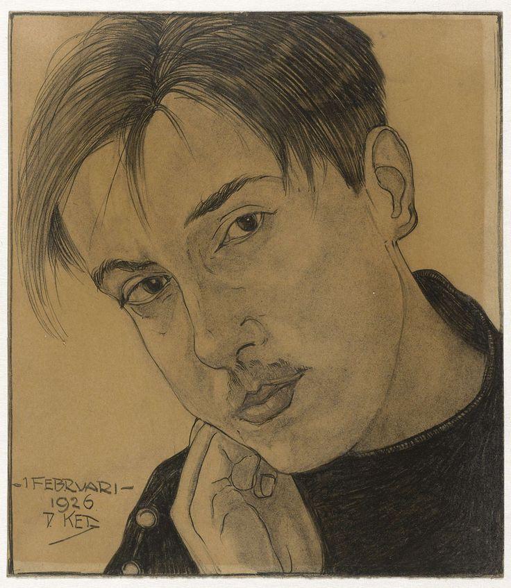 Zelfportret (met hand), Dick Ket, 1926