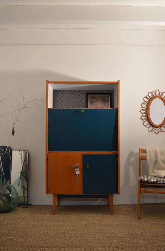 secr taire vintage bleu canard et blanc secretaire. Black Bedroom Furniture Sets. Home Design Ideas