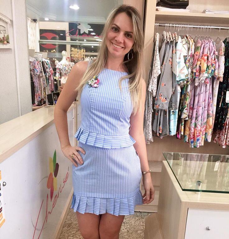 Conj no tricoline listrado  temos PMeG  WhatsApp (62) 98644-4588 #modafeminina #moda #conjuntos #modagoiana #cherisemodafeminina