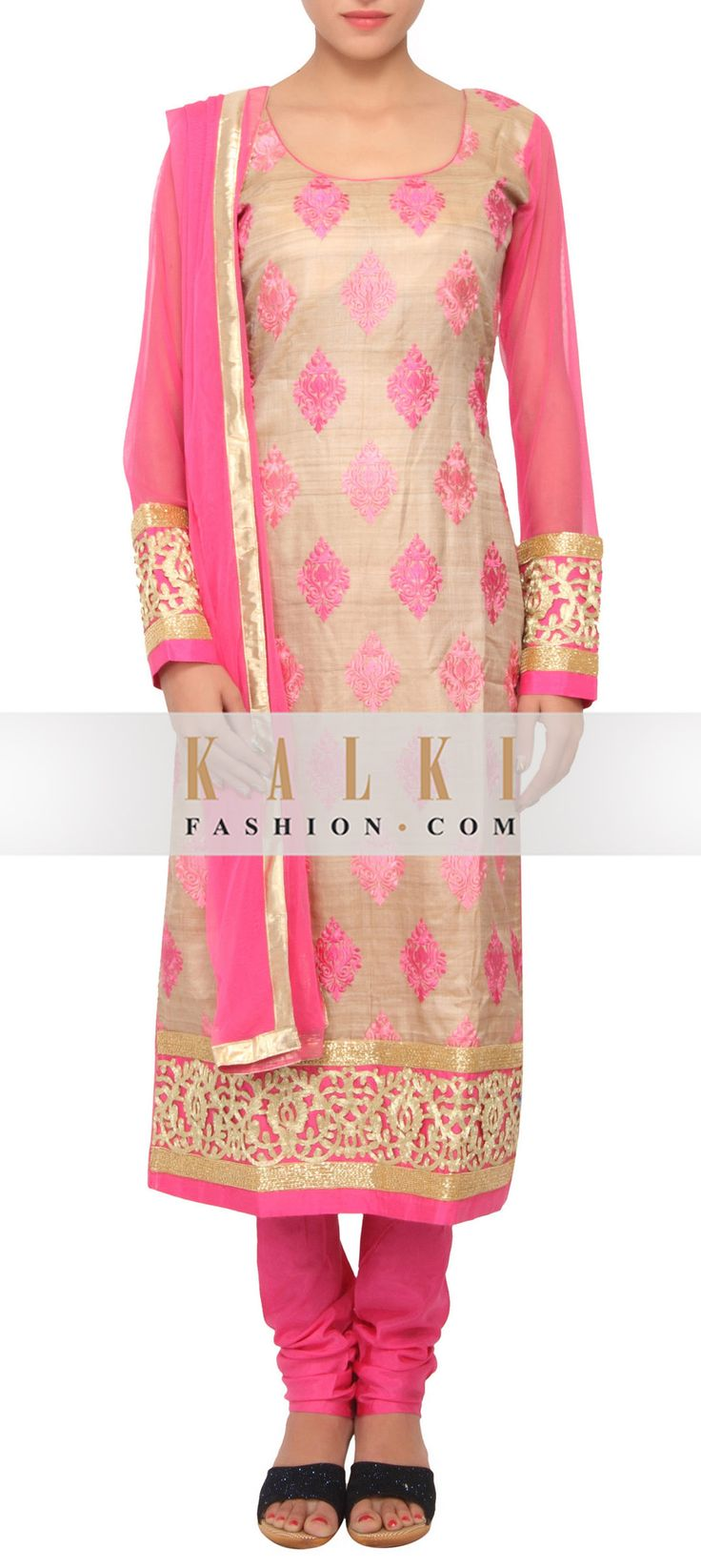 Buy Online from the link below. We ship worldwide (Free Shipping over US$100) http://www.kalkifashion.com/pink-and-beige-coloured-resham-salwar-suit-with-dupatta-only-on-kalki.html