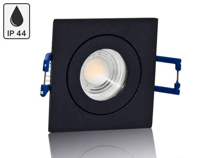 Feuchtraum LED Einbaustrahler Set IP44 MR11 35mm Druckguß anthrazit eckig mit Marken LED Spot Bioledex Helso 4 Watt 12V