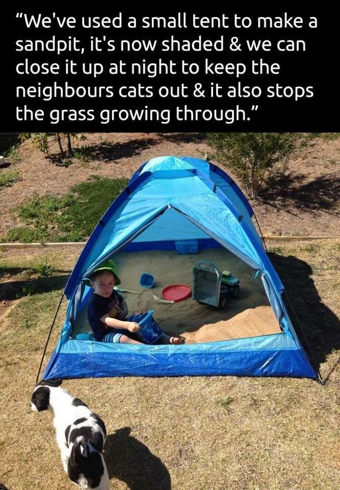 Put a sand box in a tent...what a great idea!