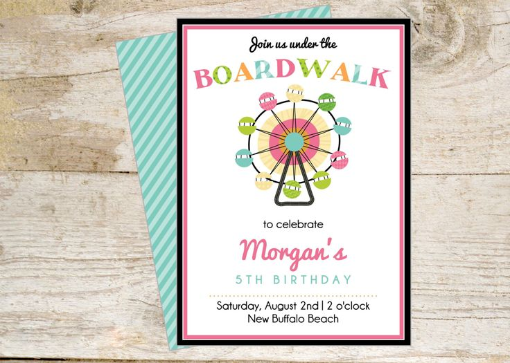 Boardwalk Theme Printable Party Invite - fun for summer party by HHpaperCO on Etsy https://www.etsy.com/listing/175819306/boardwalk-theme-printable-party-invite
