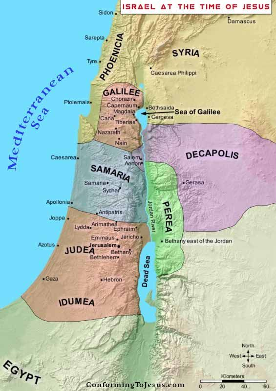 Map Of Israel In Jesus Time Bible Teachings   Israel at the time of Jesus was under Roman rule