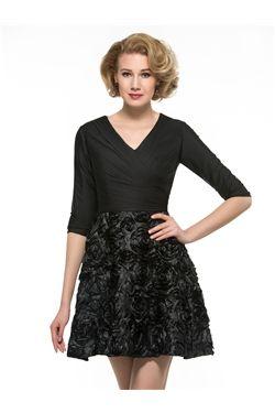 A-line Black Elegant & Luxurious Evening All Sizes Fall Half Sleeves Pick-Ups Dress