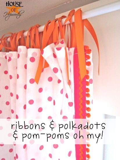 Polkadot pom-pom curtains tutorial.  Ikea curtain hack.  Cheap curtain rod tutorial as well.  @ houseofhepworths.com