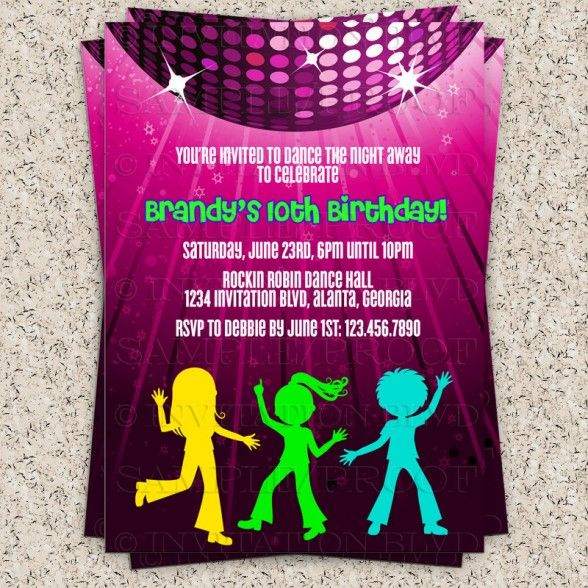 21 best childrens invitations images on pinterest children s party invitations dazzle disco party invitation with pink color rotating disco light feat colorful human stopboris Choice Image