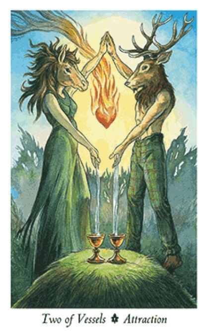 Two of Vessels Wildwood Tarot Card- The key to a good and long relationship is to find someone with the same sexual kinks as you. Keyword: rule34