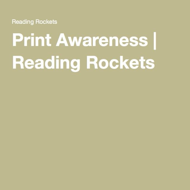 Print Awareness | Reading Rockets